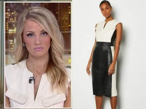 carley shimkus, fox and friends, colorblock leather sheath dress