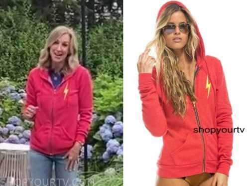 lara spencer, red bolt hoodie, good morning america
