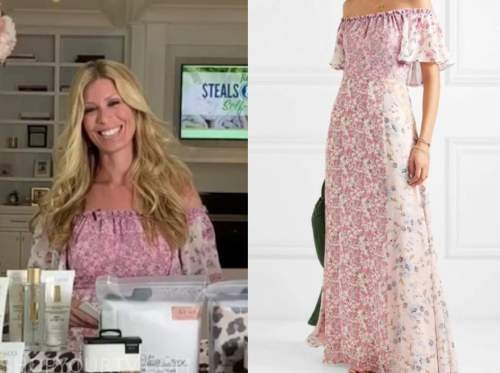 jill martin, the today show, pink floral off-the-shoulder maxi dress