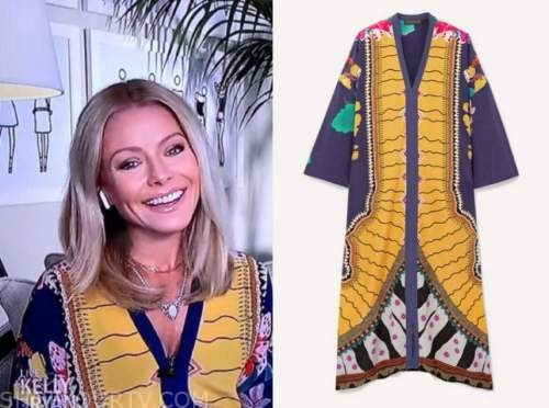 kelly ripa, live with kelly and ryan, blue and yellow caftan