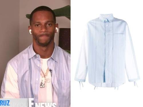victor cruz, E! news, daily pop, blue striped shirt