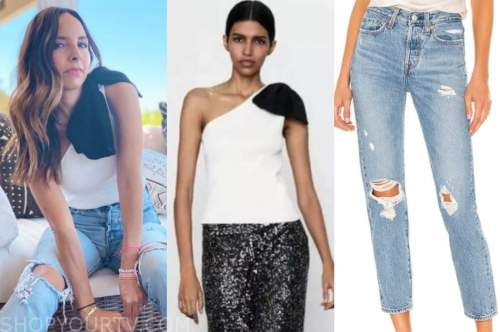 lilliana vazquez, E! news, bow top, distressed jeans