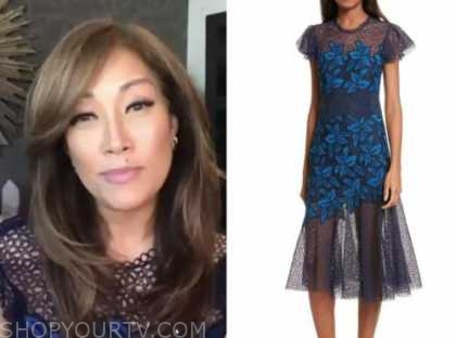 carrie ann inaba, the talk, blue lace floral embroidered dress