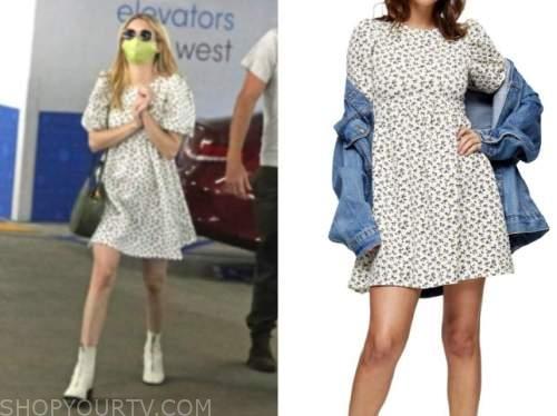 emma roberts, printed dress,