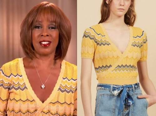 gayle king, cbs this morning, yellow knit wrap top