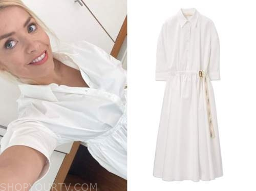 holly willoughby, this morning, white shirt dress