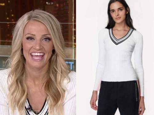 carley shimkus, fox and friends, white and black v-neck sweater