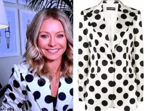 kelly ripa, polka dot blazer, live with kelly and ryan