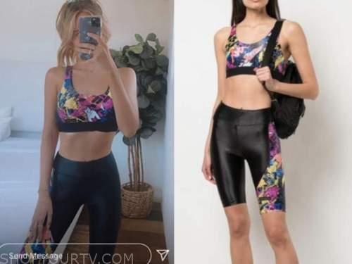 amanda stanton, biker shorts, sports bra