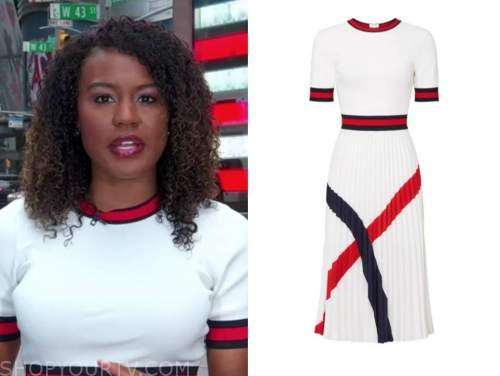 janai norman, good morning america, red and white contrast trim knit dress