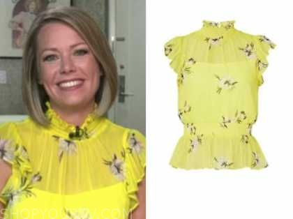 dylan dreyer, the today show, yellow floral mock neck top
