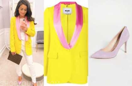 caila quinn, say yes to the dress, the bachelor, yellow and pink blazer