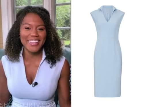 janai norman, good morning america, blue sheath dress