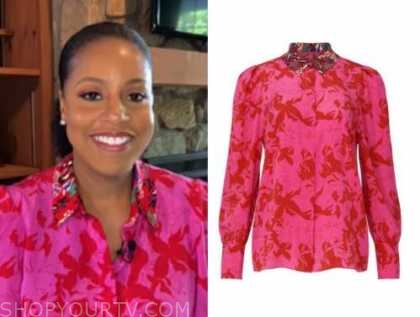 sheinelle jones, the today show, pink and red floral blouse