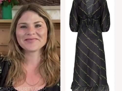 jenna bush hager, the today show, black floral midi dress