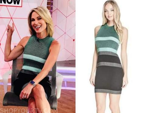 good morning america, amy robach, green stripe dress