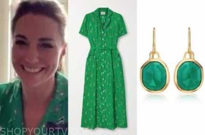 kate middleton, green dress, green drop earrings
