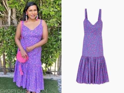 mindy kaling, purple floral dress