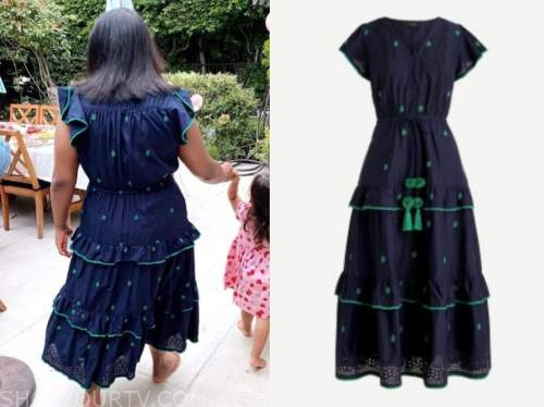 Celebrity Fashion Instagram Mindy Kaling S Navy Blue And Green Embroidered Dress Shop Your Tv