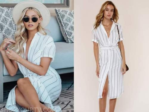 haley ferguson, the bachelor, white striped shirt dress