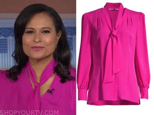 kristen welker, the today show, hot pink tie neck blouse