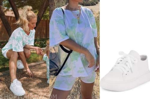 lauren burnham, the bachelor, green tie dye set, white sneakers
