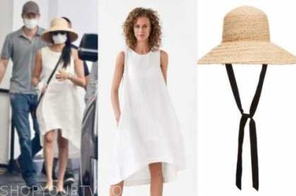 meghan markle, linen dress, straw hat