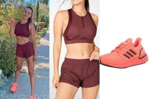 andi dorfman, the bachelorette, burgundy run set, orange sneakers