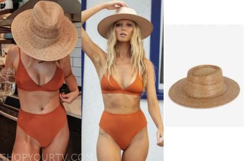 mykenna dorn, the bachelor, orange bikini, straw hat