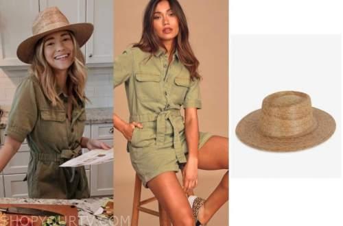 mykenna dorn, the bachelor, green romper, straw hat