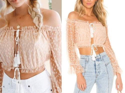 emily ferguson, the bachelor, blush pink off-the-shoulder top