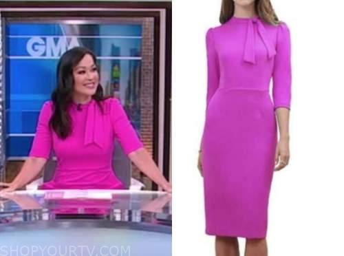 eva pilgrim, good morning america, hot pink dress