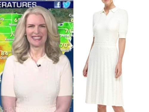 janice dean, fox and friends, white cable knit polo dress