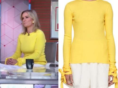 dr. jennifer ashton, good morning america, yellow tie sleeve sweater