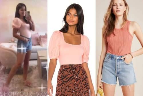 hannah ann sluss, the bachelor, pink top, jean shorts, feather sandals