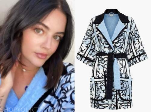 lucy hale, blue and black printed bathrobe