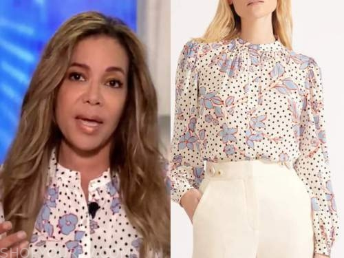 the view, sunny hostin, ivory floral dot blouse