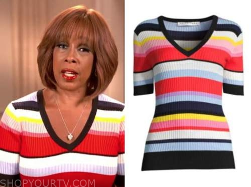 gayle king, cbs this morning, striped knit top
