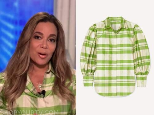the view, green check satin blouse, sunny hostin