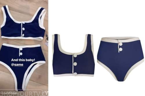 navy blue and white contrast trim bikini, morgan stewart, E! news