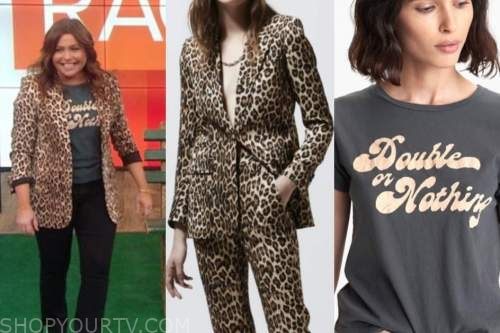 rachael ray, the rachael ray show, leopard blazer, graphic tee
