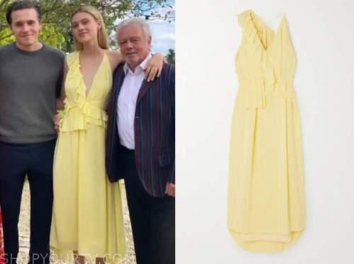 nicola peltz, yellow ruffle dress,