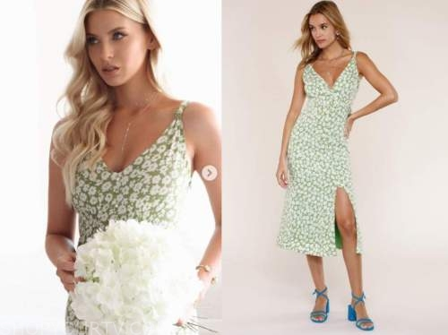 haley ferguson, the bachelor, green and white floral dress
