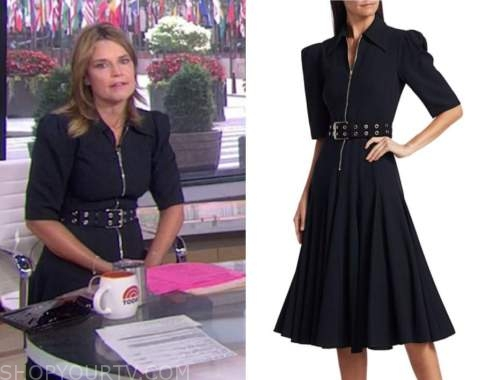 savannah guthrie, the today show, black zip-front belted dress