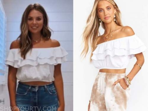 hannah brown, white ruffle off-the-shoulder crop top, the bachelorette