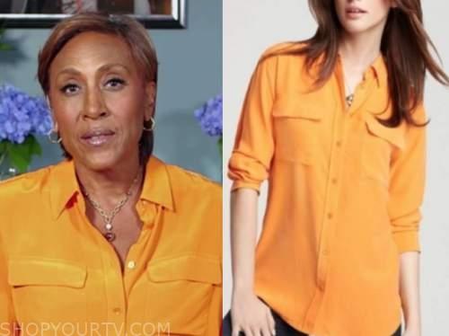robin roberts, good morning america, orange silk shirt