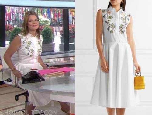 savannah guthrie, the today show, white embroidered shirt dress