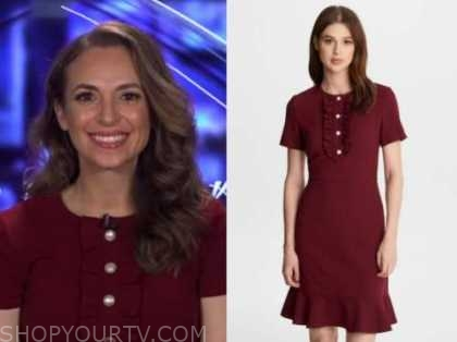 jedediah bila, burgundy pearl button dress, fox and friends
