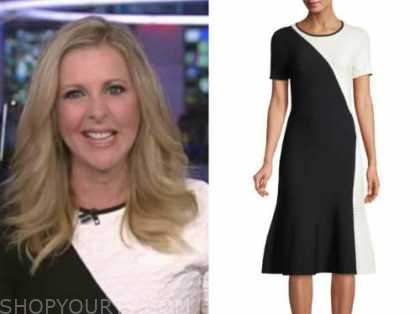 cheryl casone, fox and friends, black and white dress