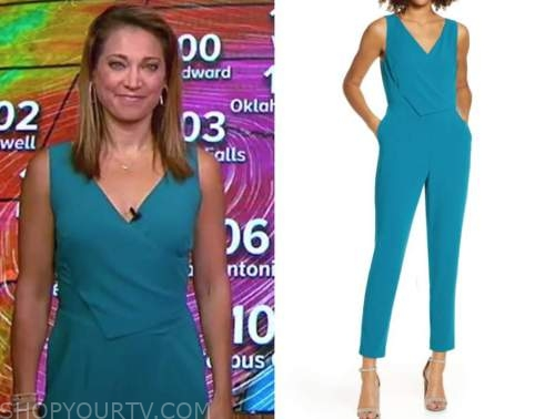 ginger zee, teal jumpsuit, good morning america